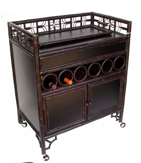 Indochine style bar and wine cart