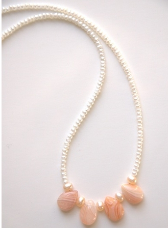 Seed Pearl and Peach Agate Necklace