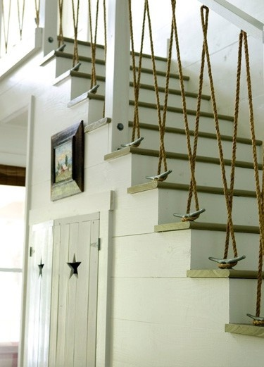 nautical stairway with rope