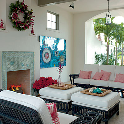 open air living room holiday decor