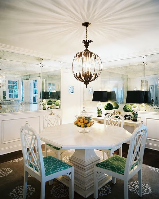 mirrors in small dining room