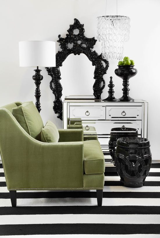 interiors with contrasting color schemes