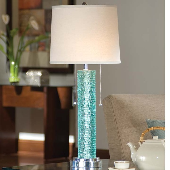Cottage & Bungalow Aqua Crystal Chipped-Edge Lamp