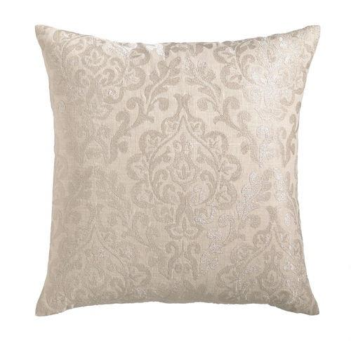 Cottage & Bungalow Damask Metallic Embroidered Linen Pillow