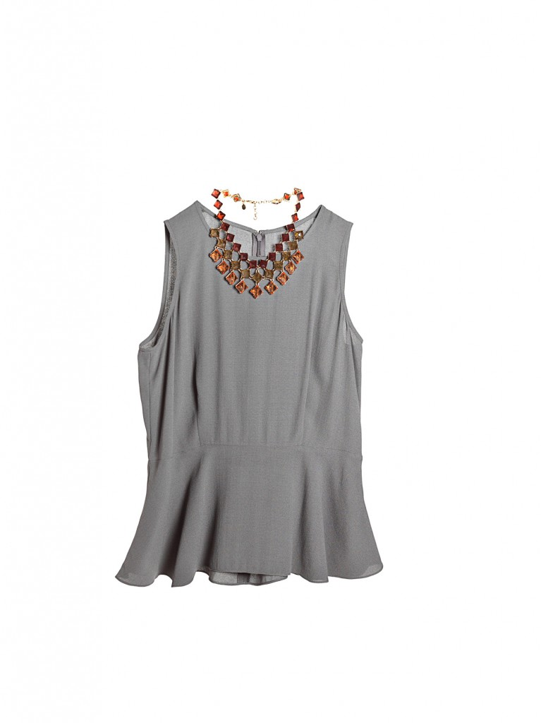 silk top and statement necklace