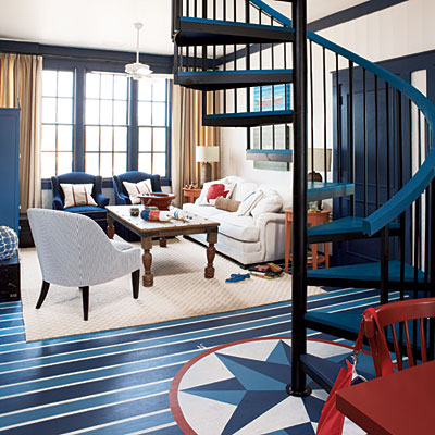 red white and blue interior