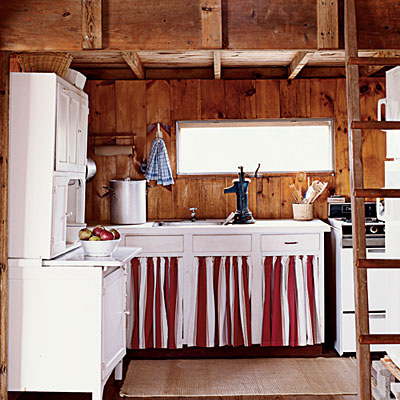 rustic red white and blue kitchen