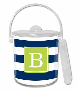 Blue and White Striped Ice Bucket