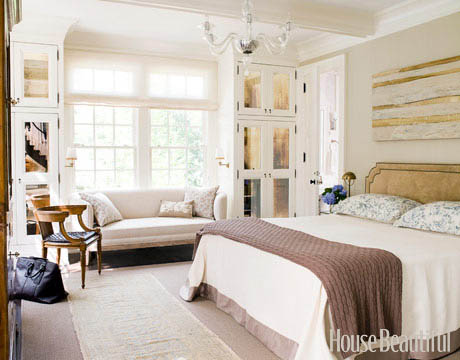 Romantic bedroom with a window seat