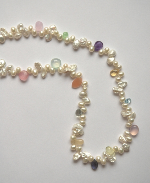 keishi pearl necklace with gemstones