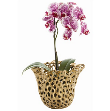 gold perforated vase