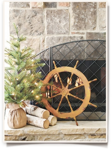 coastal christmas fireplace