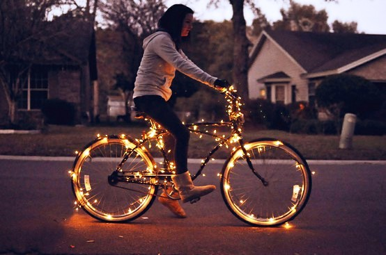 Bike with Christmas Lights