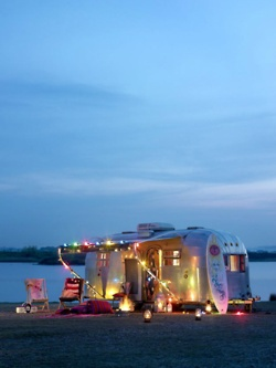 Christmas Camper on the Beach