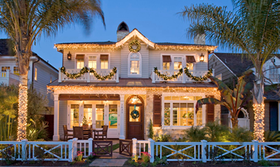 Beach House with Christmas Lights