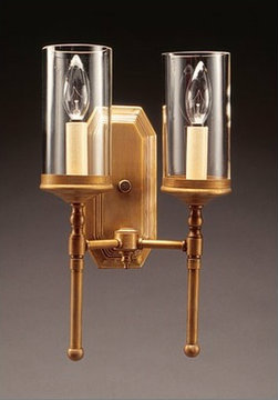 "2-Lite Wall Sconce with 3"" x 6"" Clear Glass Cylinder"
