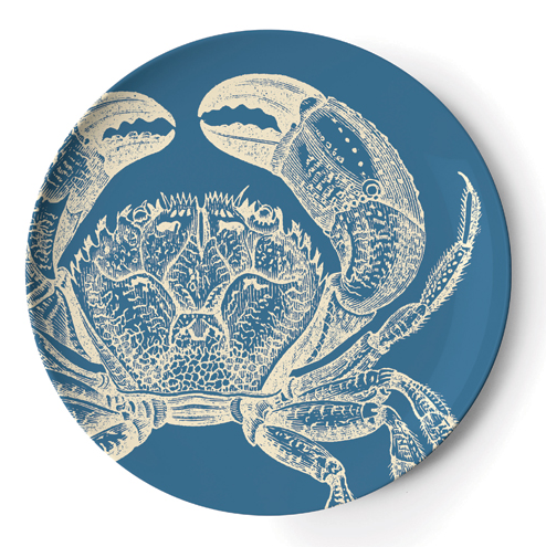 melamine plate with crab pattern