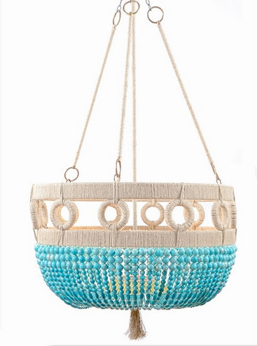 beachy turquoise chandelier with beads