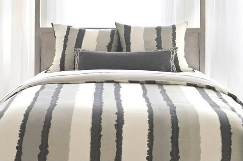 Painted Stripes Linen Gray Duvet Cover