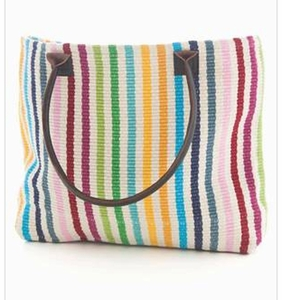 Rainbow Stripe Woven Cotton Tote Bag