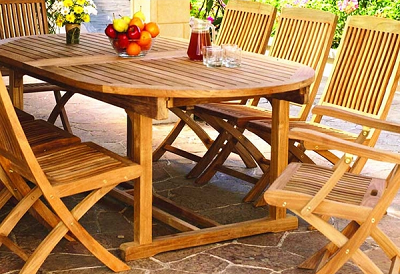 Chelsea Teak Oval Extension Table