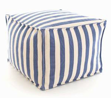 cottage and bungalow blue white pouf