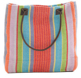 cottage and bungalow garden stripe tote